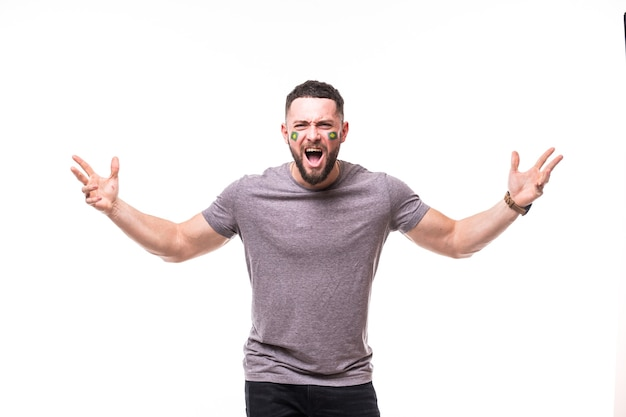 Brazil win. victory, happy and goal scream emotions of brazil football fan in game support of brazil national team on white background. football fans concept.