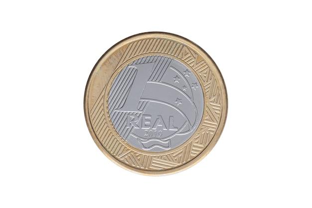 白い背景の上のブラジルの「1レアル」コイン2019