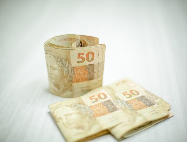 Brazilian 50 and 100 reais banknotes