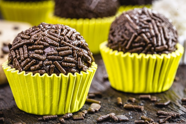 Brazilian bonbon called brigadeiro, small chocolate candy with sprinkles served at children's parties