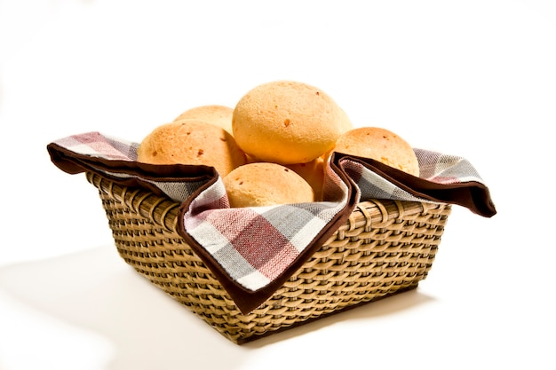 Brazilian cheese buns in a basket.