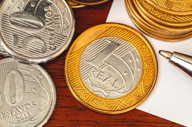 Brazilian coins in close up photo for brazilian economy concept