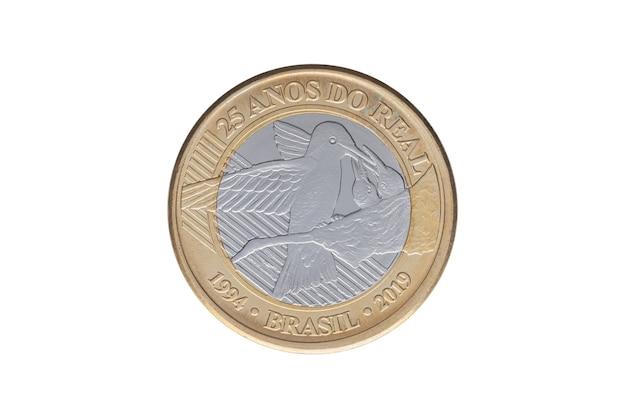 ブラジルの記念「1レアル」コイン2019-25年のレアル通貨計画-白い背景に