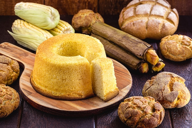 Brazilian corn cake, made with cornmeal flour, typical of regional festivals