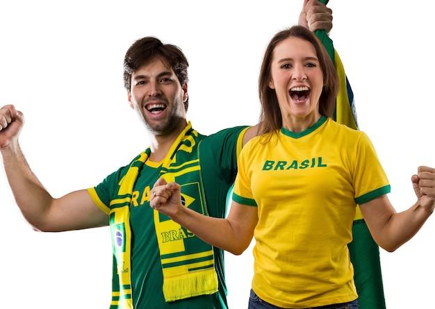 Brazilian couple celebrating on a .