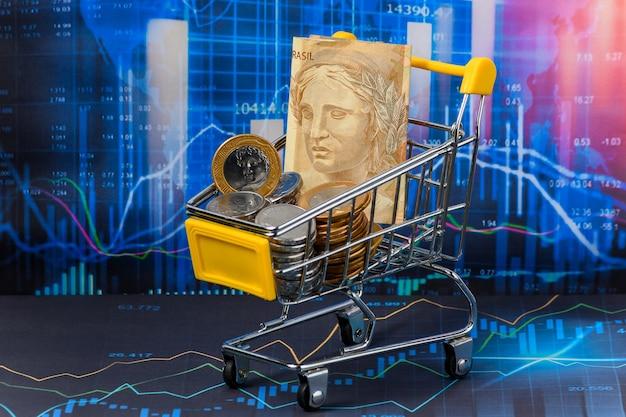 Brazilian current money in 2021 brazilian currencies on a financial market chart economic market