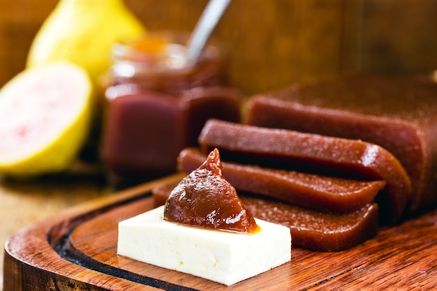 Brazilian dessert called romeo and juliet, guava paste with rural cheese, typical of brazilian parties