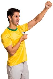 Бразильский фанат празднует на пустом месте