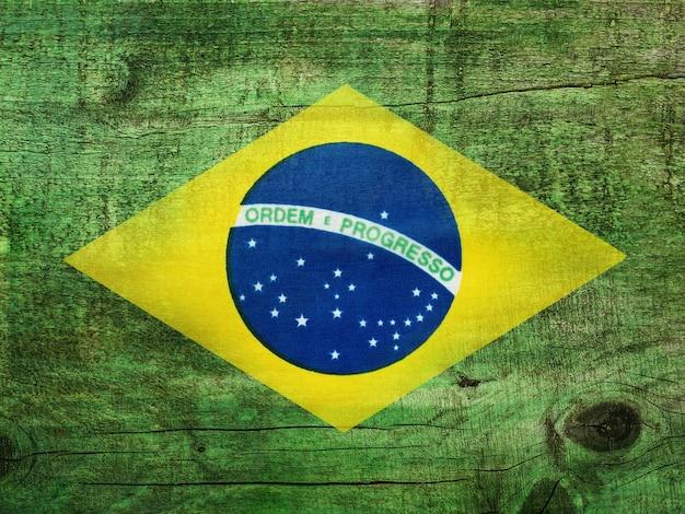Бразильский флаг. красивая открытка. крупный план, вид сверху. концепция национального праздника. поздравления родным, близким, друзьям и коллегам