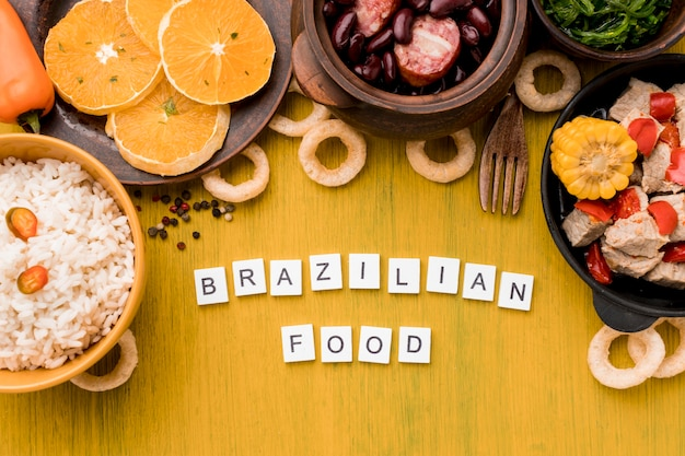 Brazilian food arrangement top view