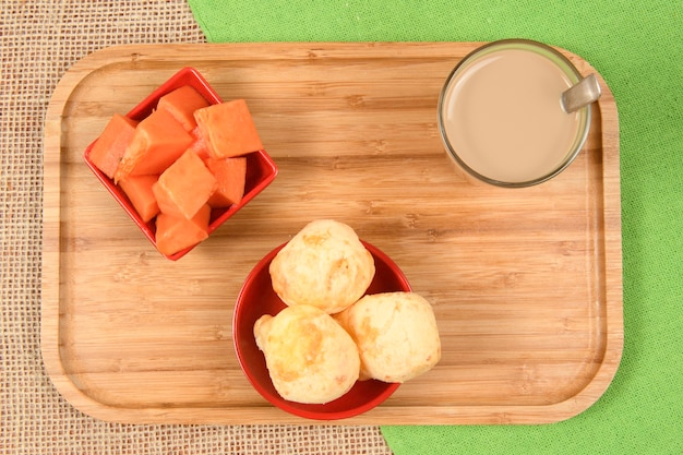 Brazilian food guide - breakfast, with coffee with milk, cheese bread and papaya fruit