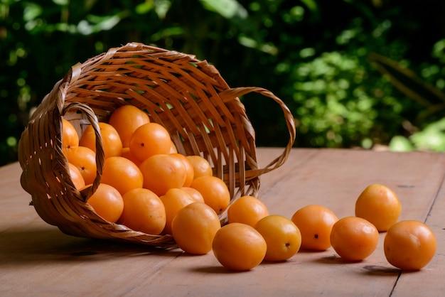 Brazilian fruit caja in the straw basket