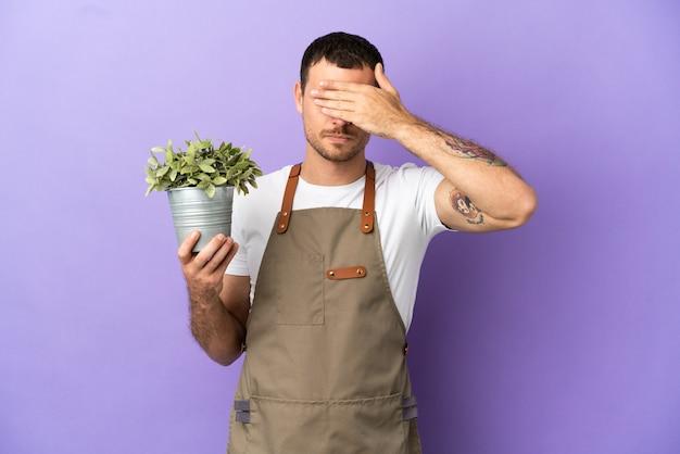 고립된 보라색 배경 위에 식물을 들고 있는 브라질 정원사 남자는 손으로 눈을 가리고 있습니다. 뭔가 보고 싶지 않아