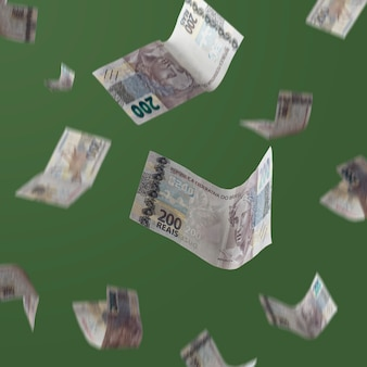 녹색 배경에 떨어지는 브라질 돈 200 레알 지폐