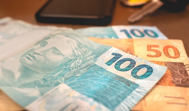The brazilian money in close up photo