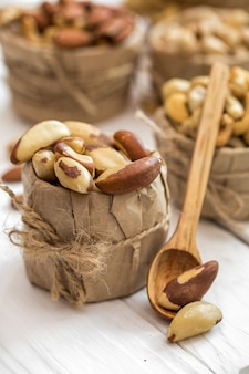 Brazilian nut and wooden spoons