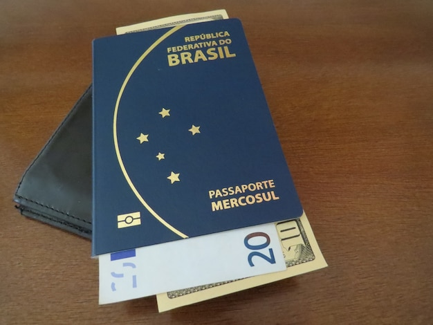 브라질 여권과 유럽 및 미국 돈.