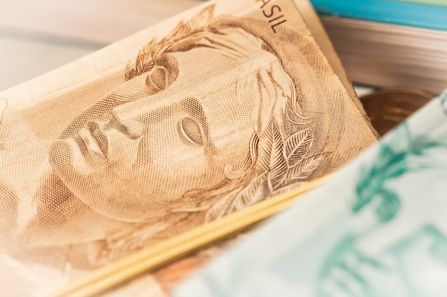The brazilian real banknotes in close up