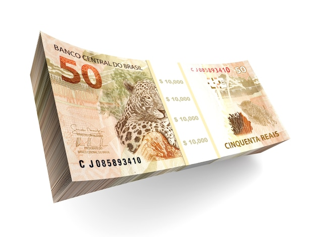 Brazilian real bills. 3d rendered illustration.