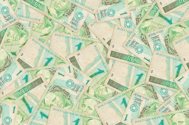 Brazilian real bills lies in big pile rich life conceptual background big amount of money