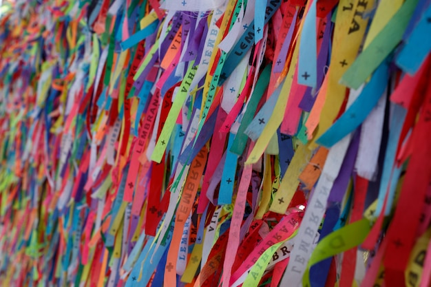 Brazilian ribbon (lembranca do senhor do bonfim da bahia). salvador, bahia, brazil. nosso senhor do bonfim church.
