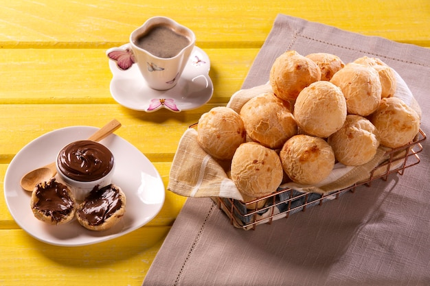 Brazilian snack cheese bread stuffed with chocolate.