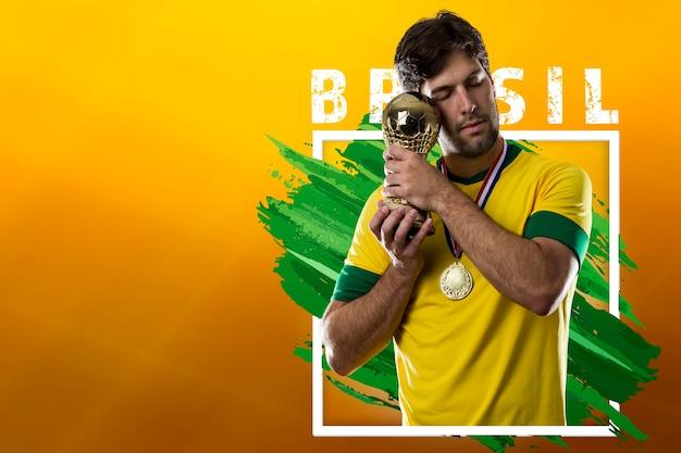 Brazilian soccer player, celebrating the champion victory
