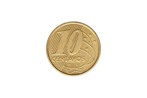 Brazilian ten real cents coin on white background