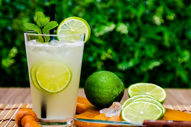 Brazilian traditional refreshing caipirinha