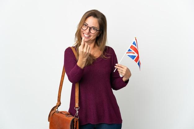 イギリスの旗を保持しているブラジル人女性