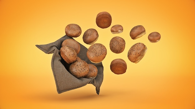 Bread in basket isolated 3d rendering