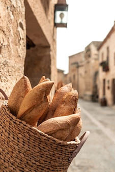 Bread basket in old spanish village bakery.