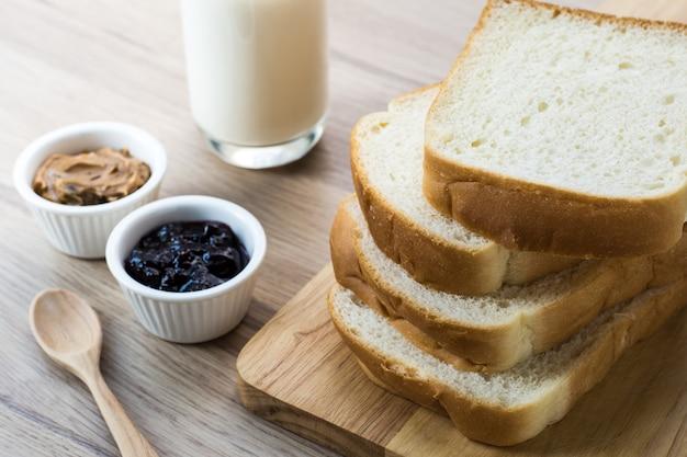 Bread breakfast on wood