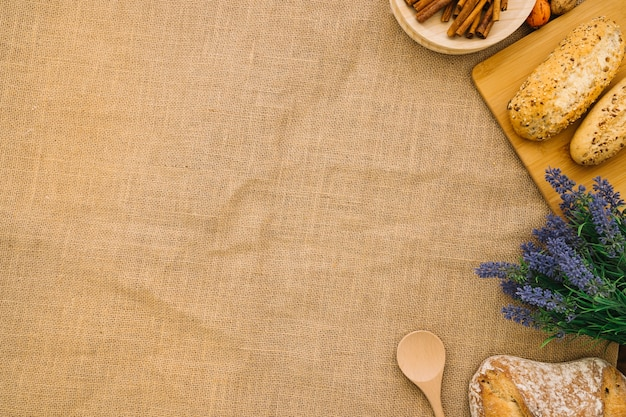 Bread decoration on cloth with space on left
