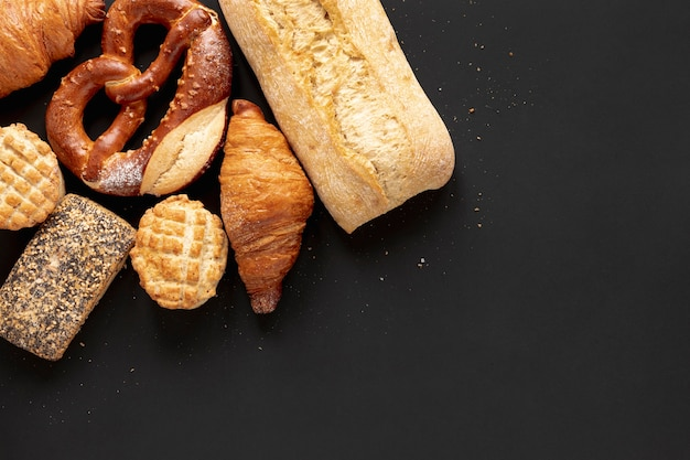 Bread and delicious croissants with copy space