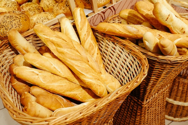 Bread food background brown wheat graine roll lot pastries batch product baked baguette
