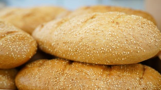 Bread. fresh loaf of bread in market
