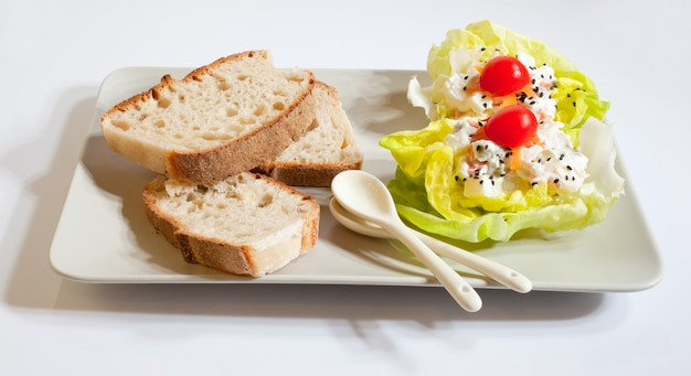 Bread and fresh salad