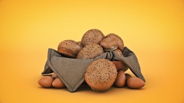 Хлеб в корзине изолированные 3d-рендеринга