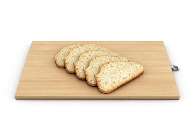 白い背景の上の木の板の上のパン