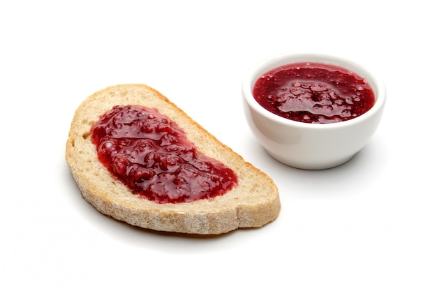 Bread and raspberry jam