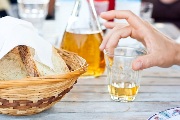 Bread and retsina, greek wine