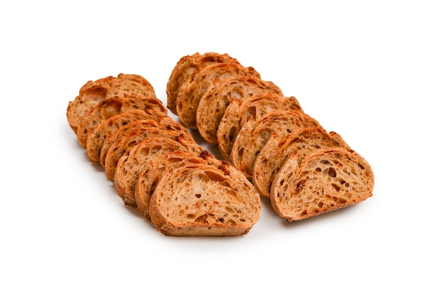 Bread slices isolated on white.