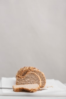 Bread slices with white background