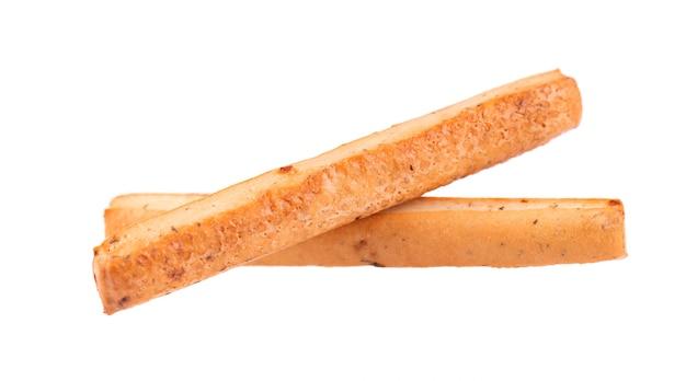 빵 스틱 화이트에 격리입니다. grissini, 양파와 허브가 들어간 이탈리아 막대기.