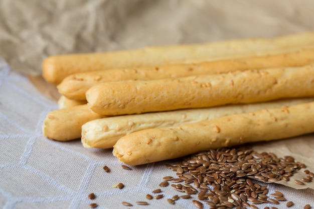 Bread sticks with sesame seeds