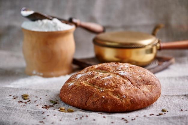 Bread on a textile with a flour