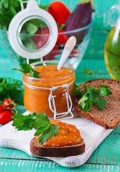 Bread toasts with eggplant caviar. vegan meal. healthy vegetarian food