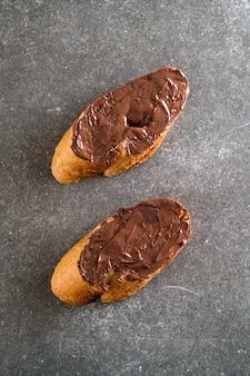 Bread with chocolate hazelnut spread