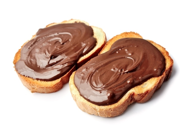 Bread with chocolate spread close up